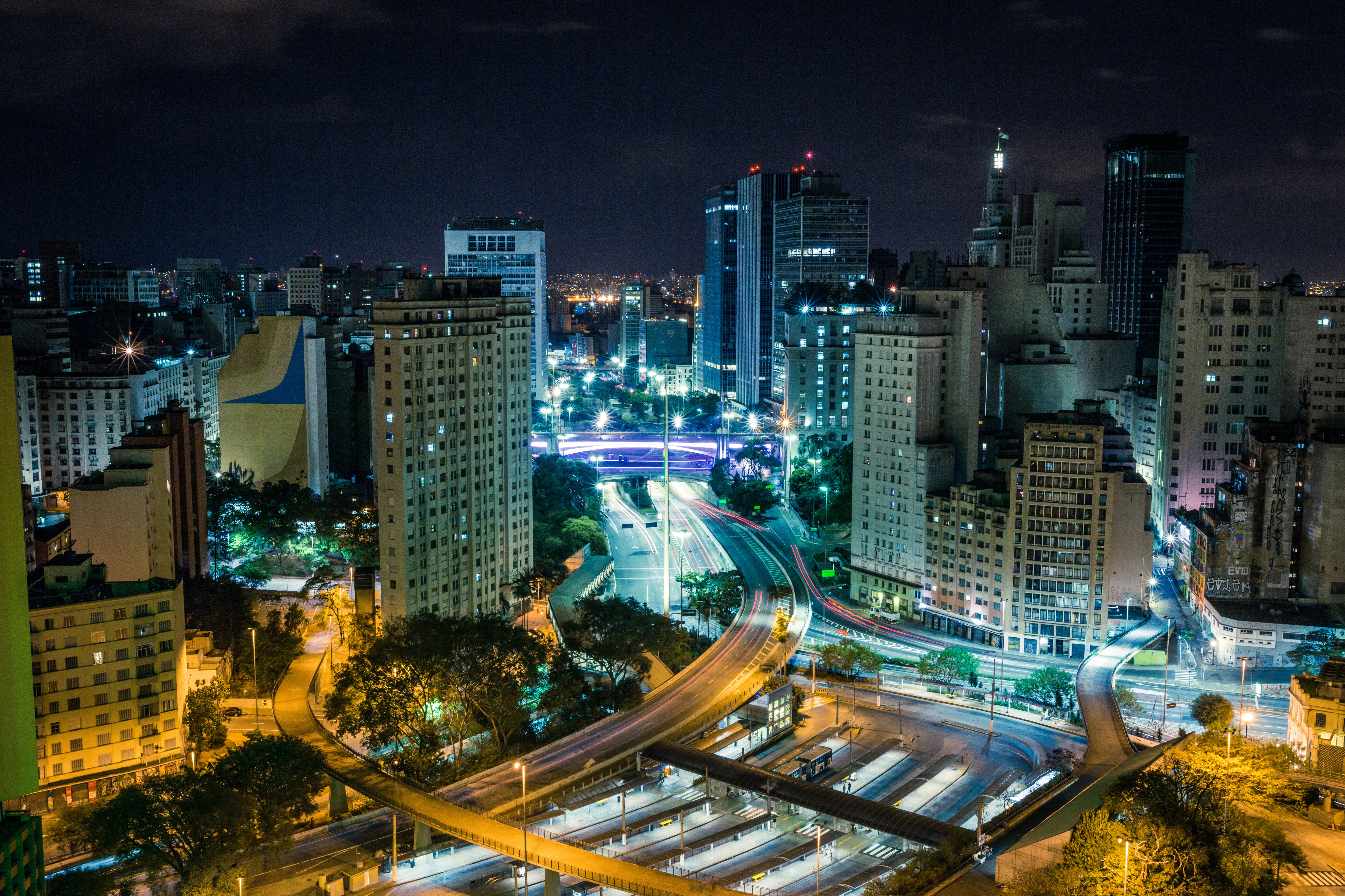 Image of highways in Brazil at night