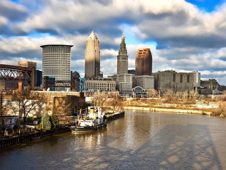 This is an image of Cleveland and the Cuyahoga River