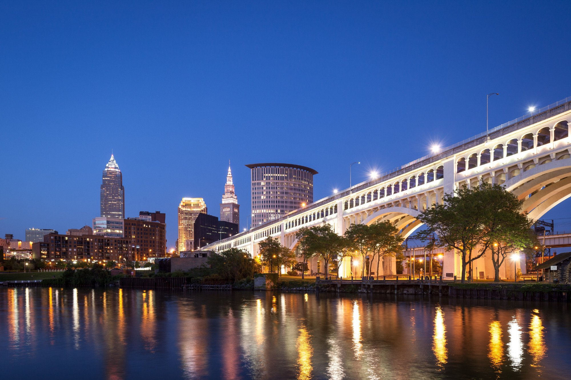This is an image of the downtown Cleveland skyline at night