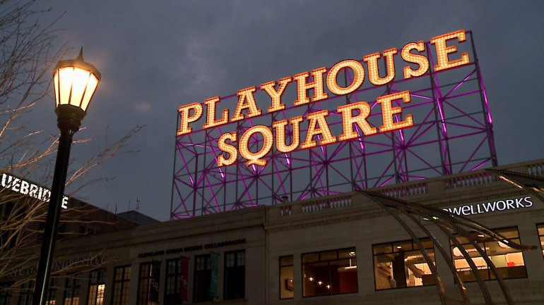 This is an image of the Playhouse Square sign, and the Dwellworks headquarters