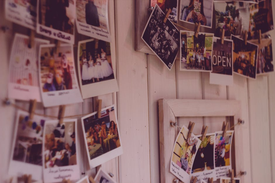Image of photos hanging on a wall