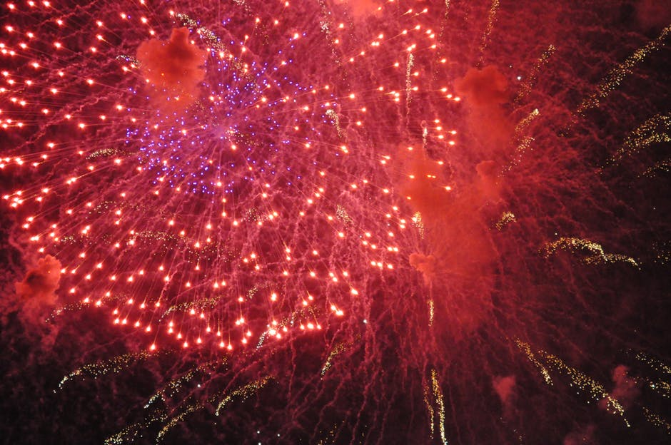 An image of red fireworks.