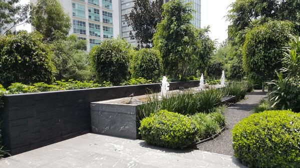 Image of a temporary housing unit's courtyard