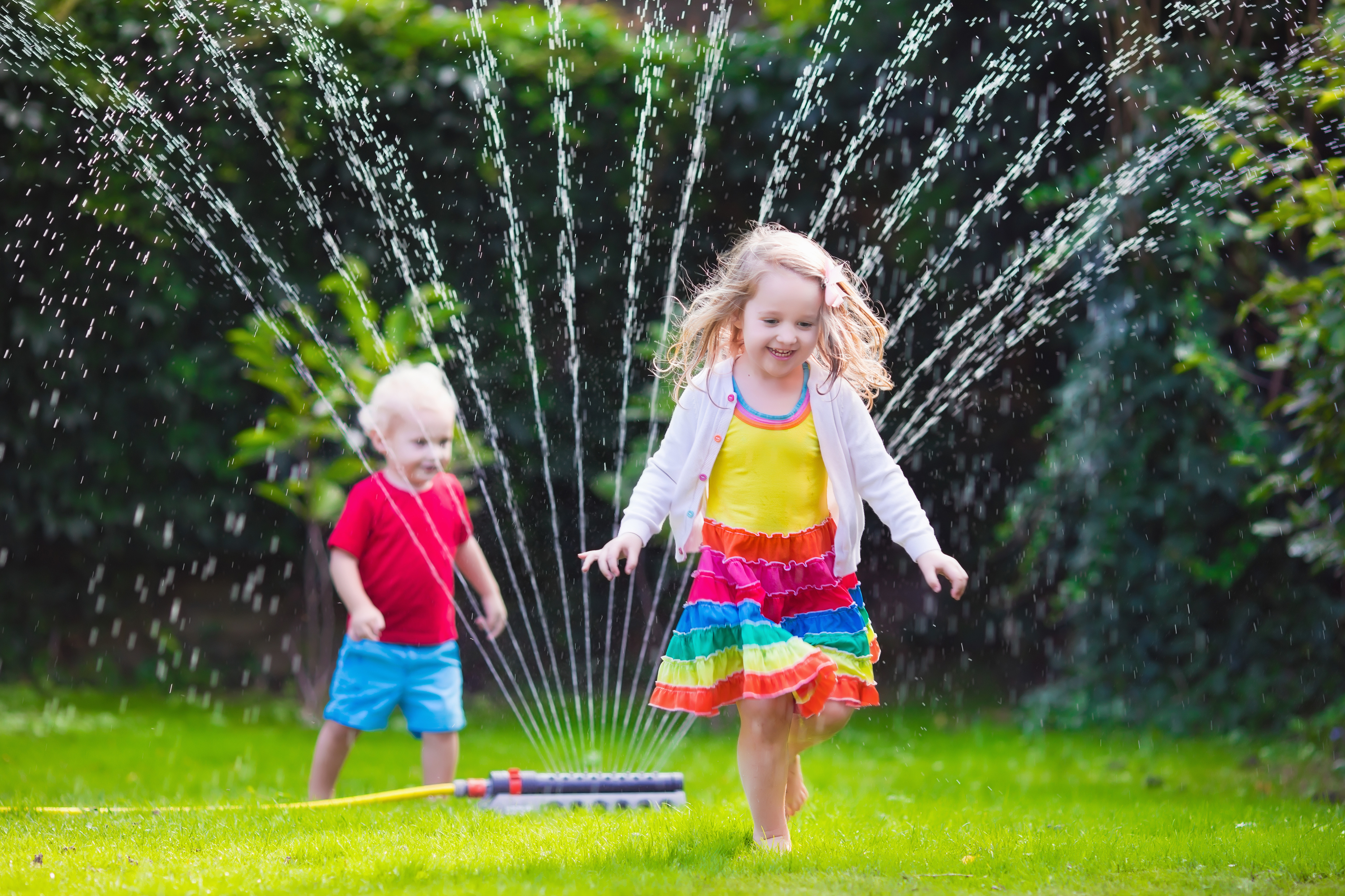 Kids Playing in a Yard