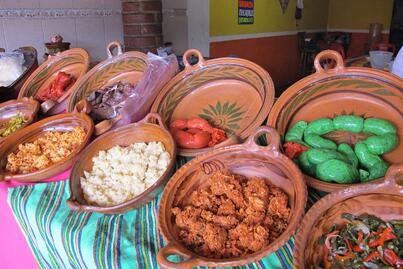 Images of a street vendor's table in Mexico City