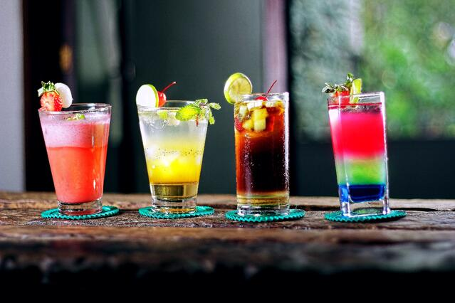 Image of four mixed drinks in Mexico City