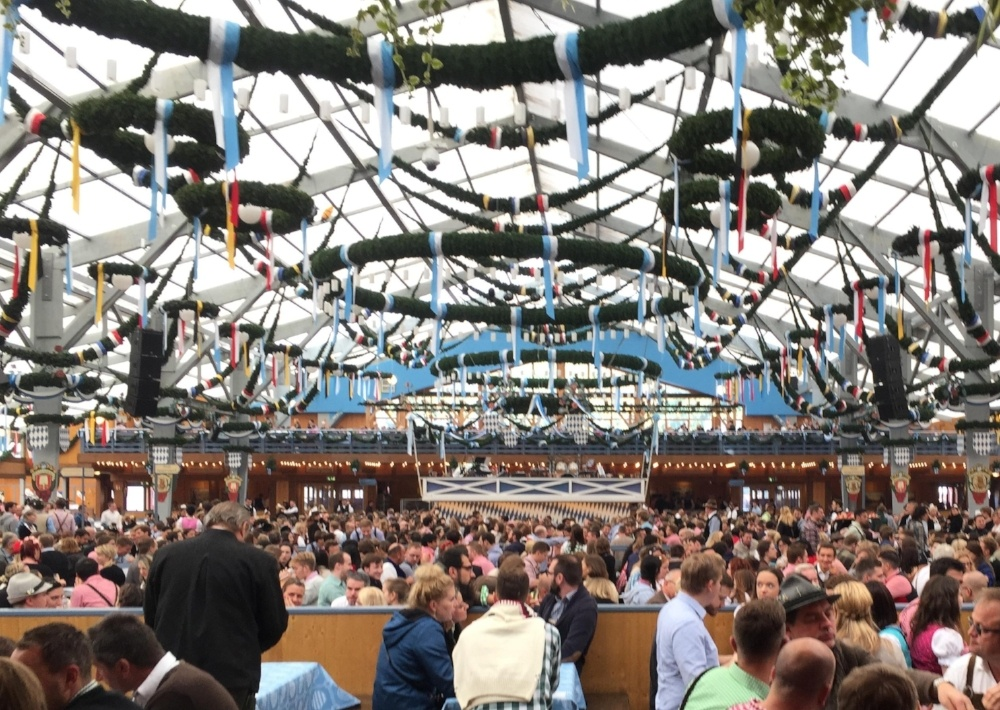 This is an image of inside one of the tents at Oktoberfest