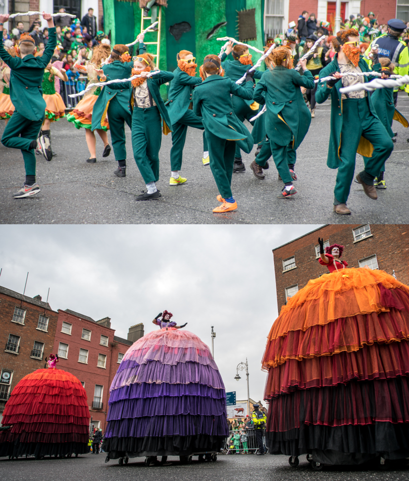 Two images of a St. Patrick's Day parade in Dublin, Ireland