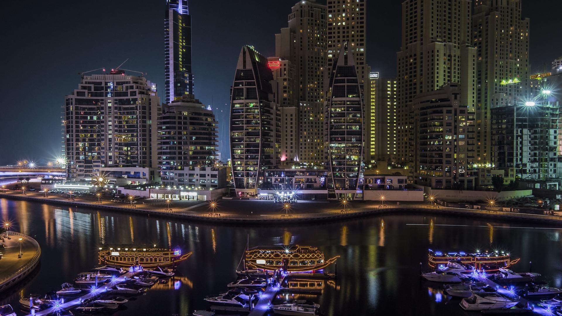 Image of the Dubai, UAE marina at night