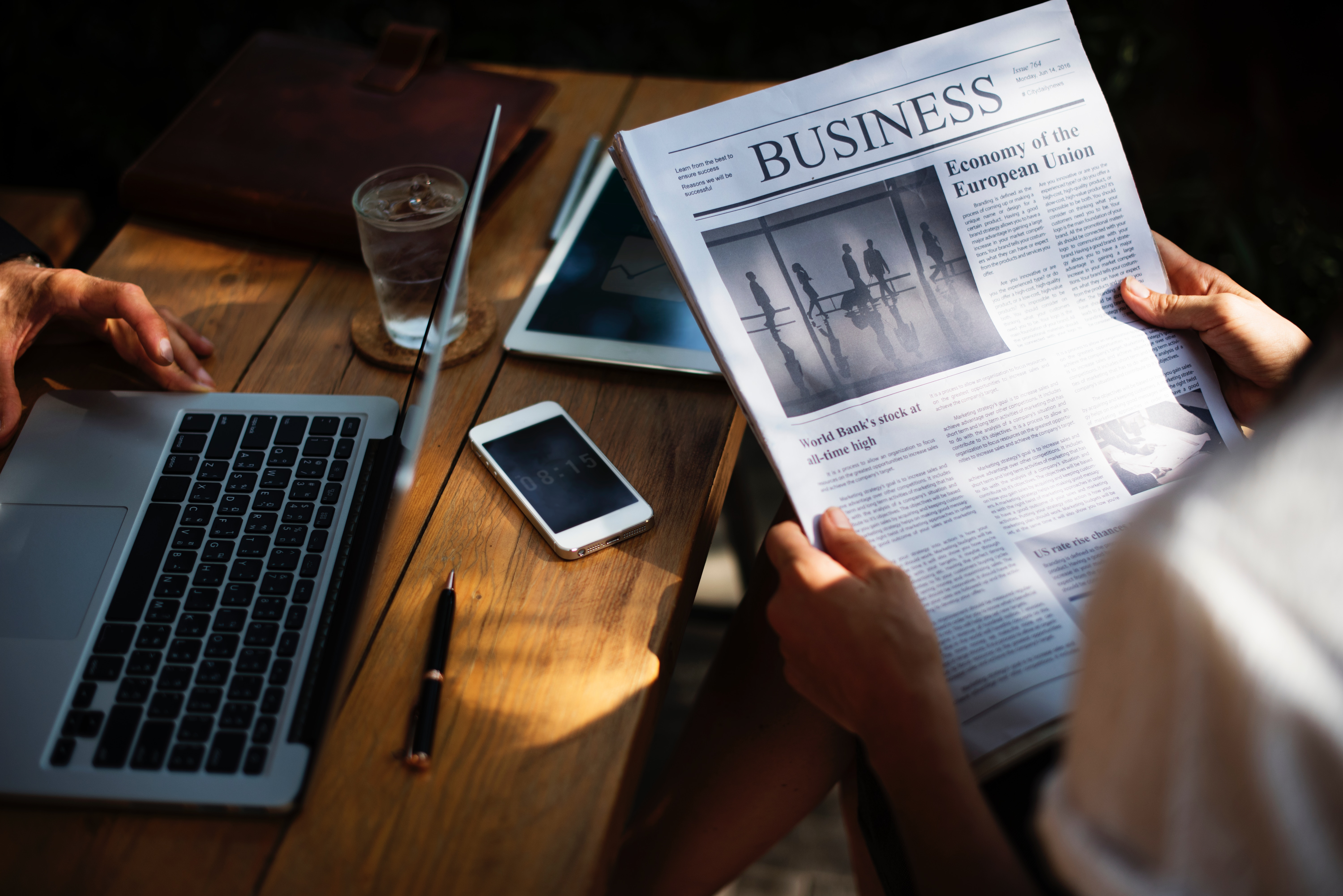 Image of the business section in the newspaper