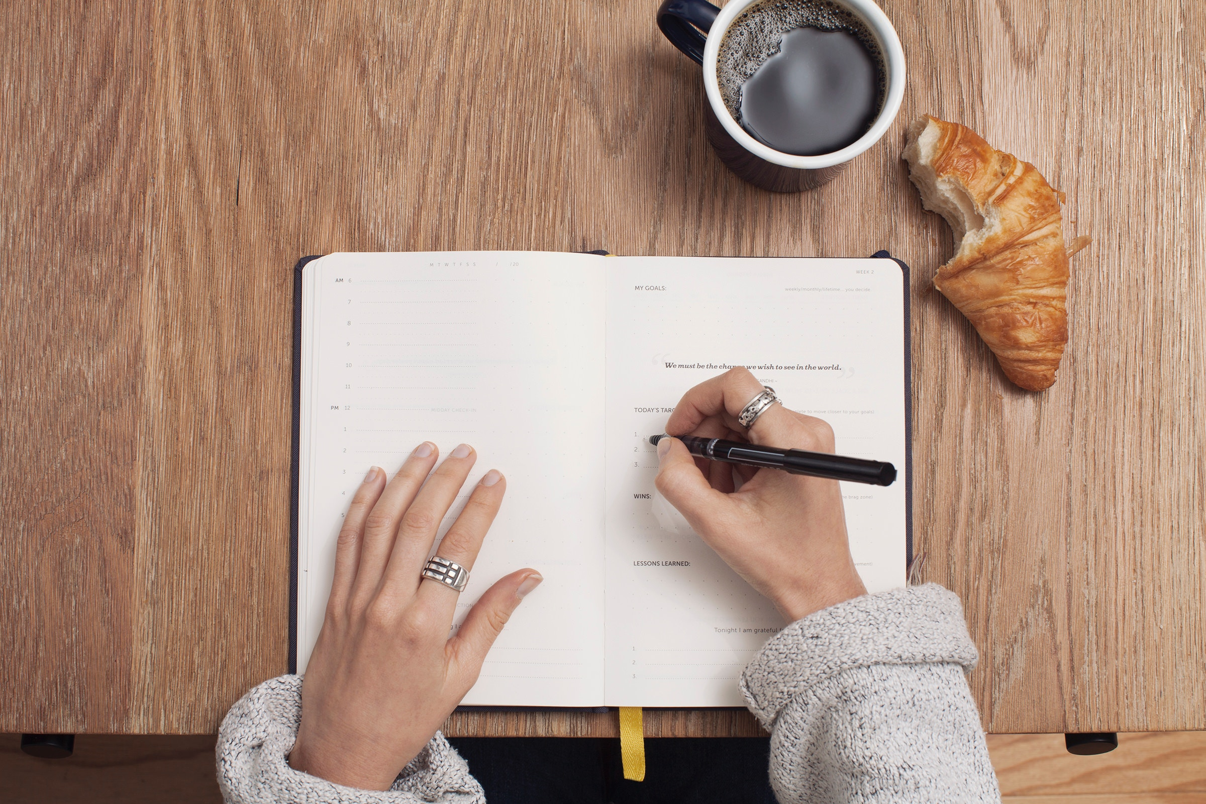 Image of a woman outlining business goals