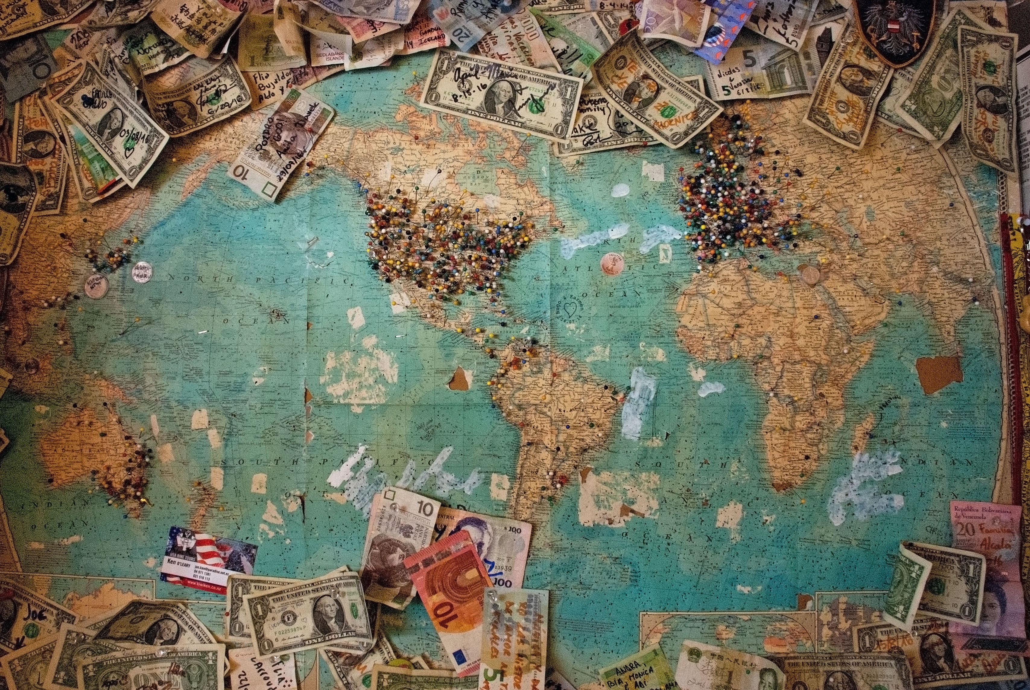 Image of a map with various currencies