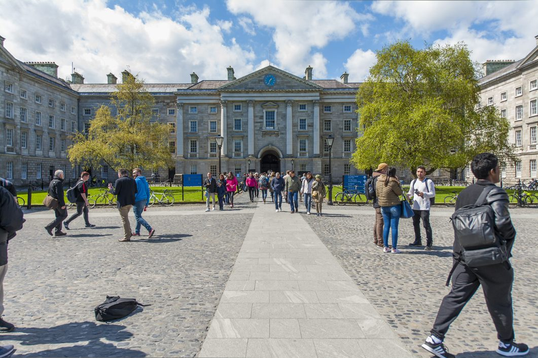 An image of Trinity's college green