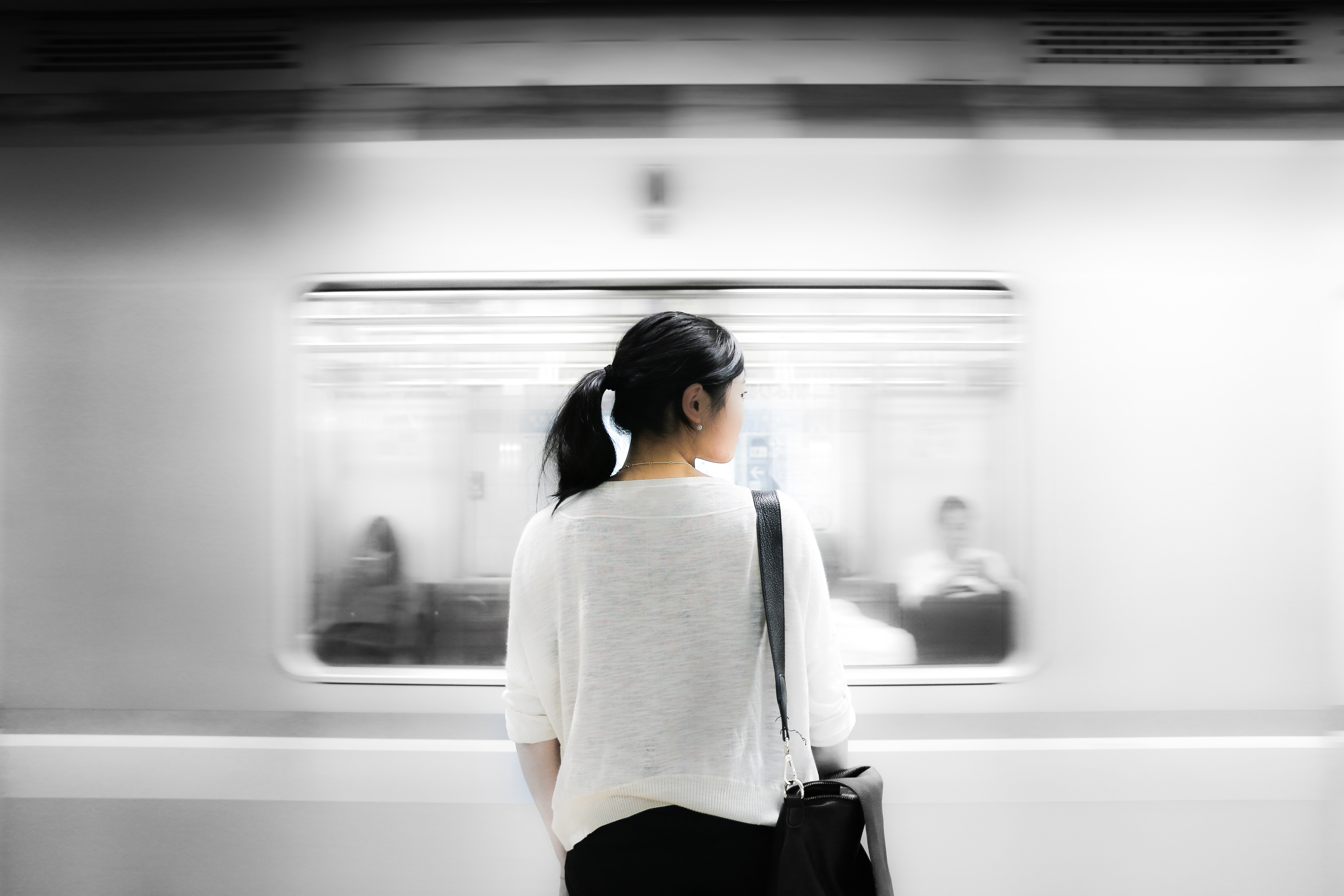 Image of a woman at the subway station