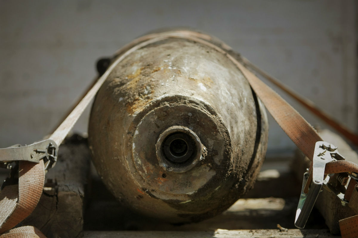 An image of an unearthed World War II bomb