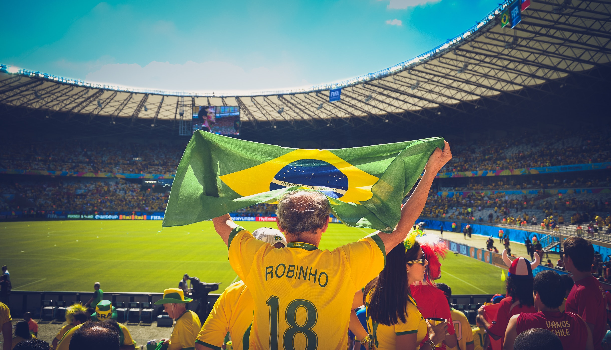 Image of a futbol fan in Brazil