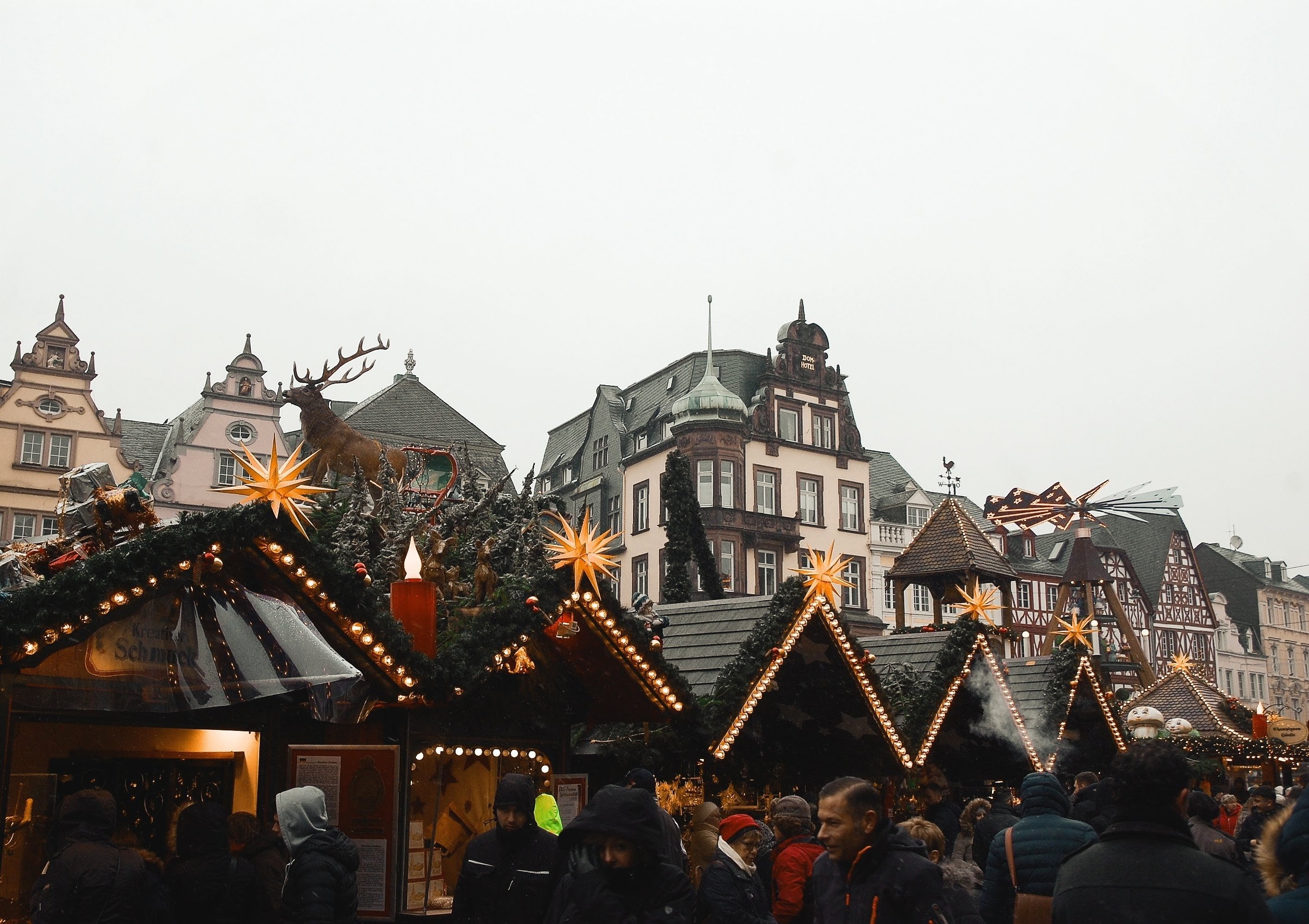 Image of Christmas market stalls in Trier, Germany