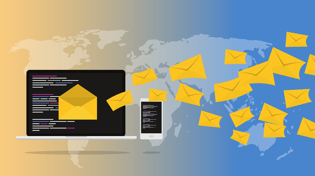 Illustration of a computer, phone, and emails being sent around the world