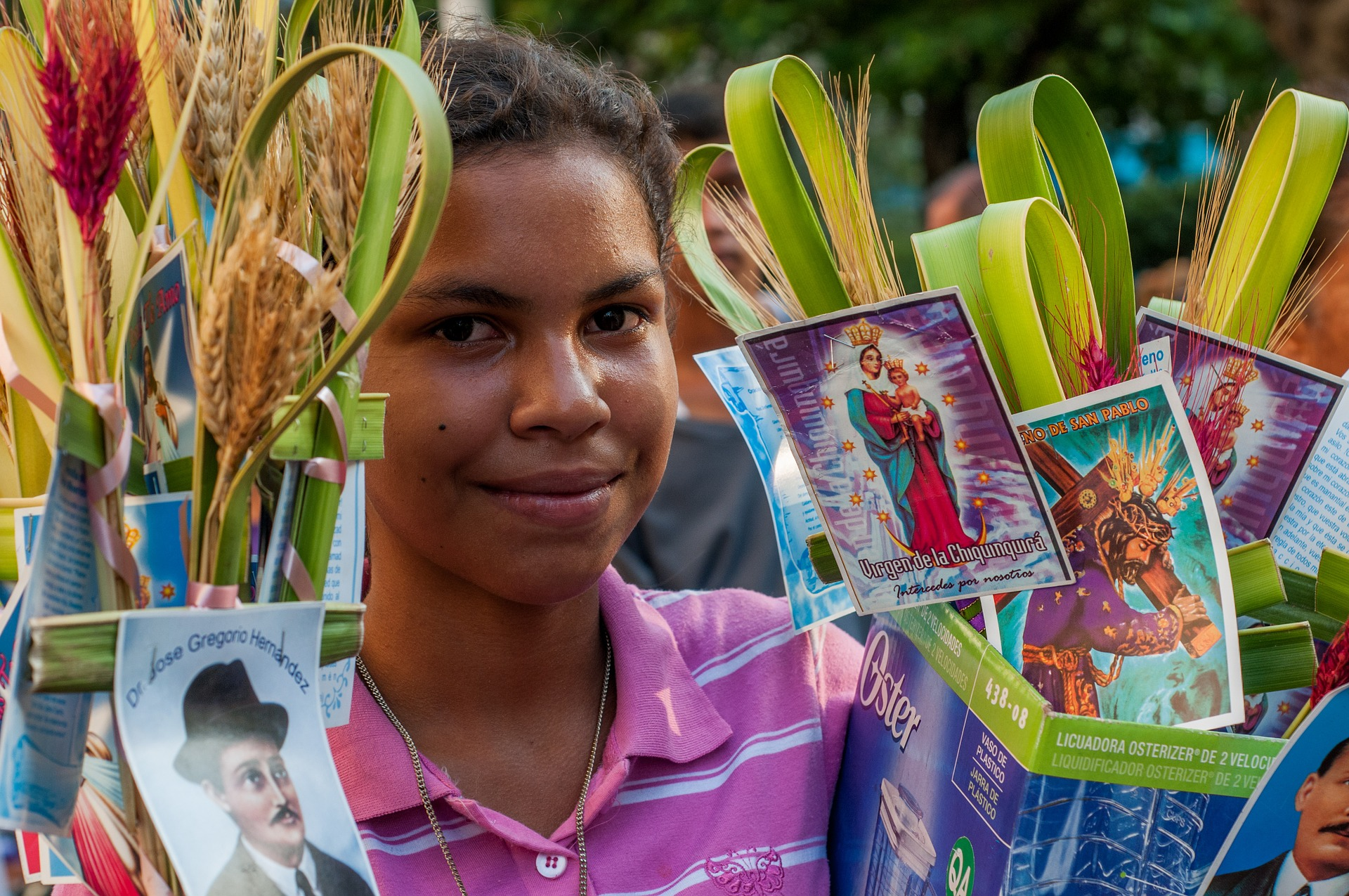 Image of a vendor selling woven crosses in Mexico on Palm Sunday