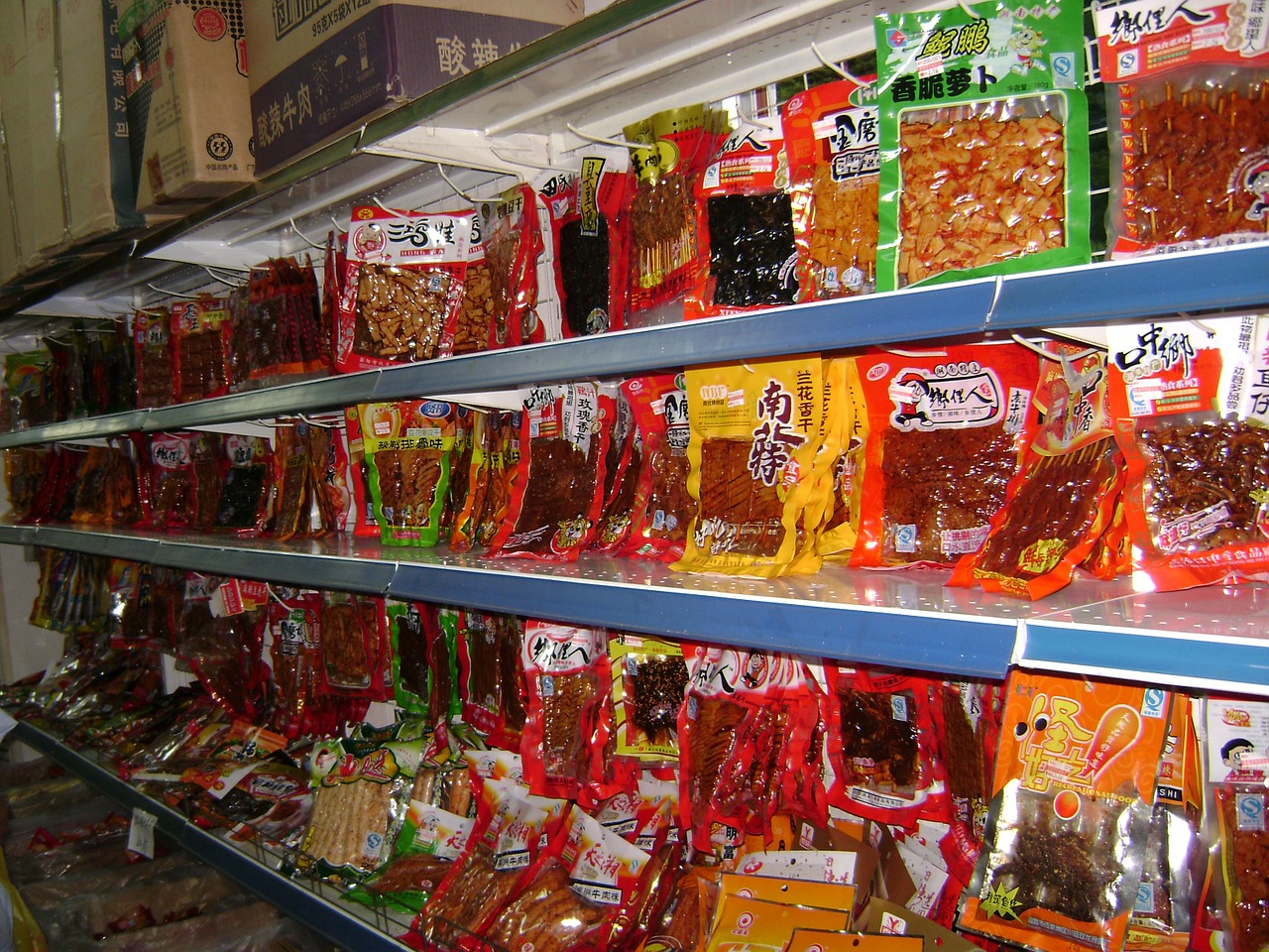 Image of grocery store shelves in China