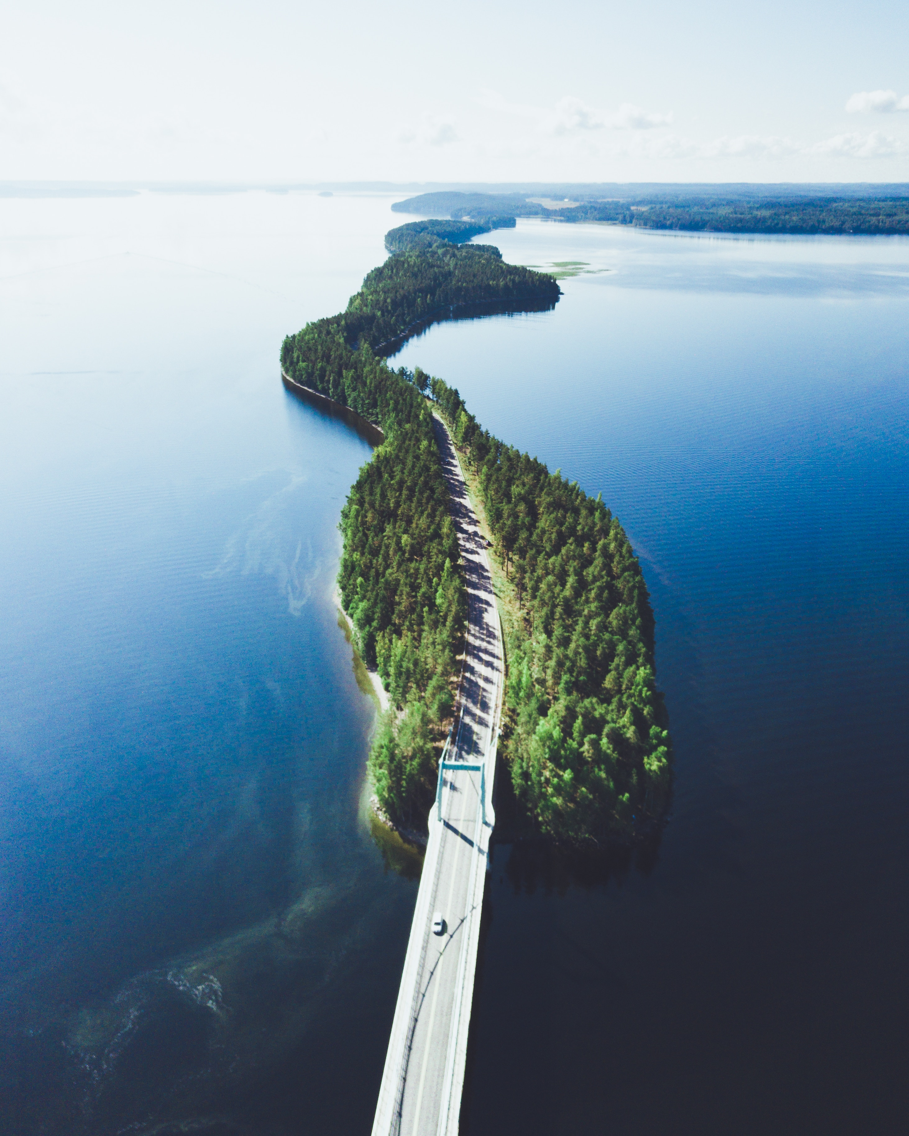 Image of a long road in Finland