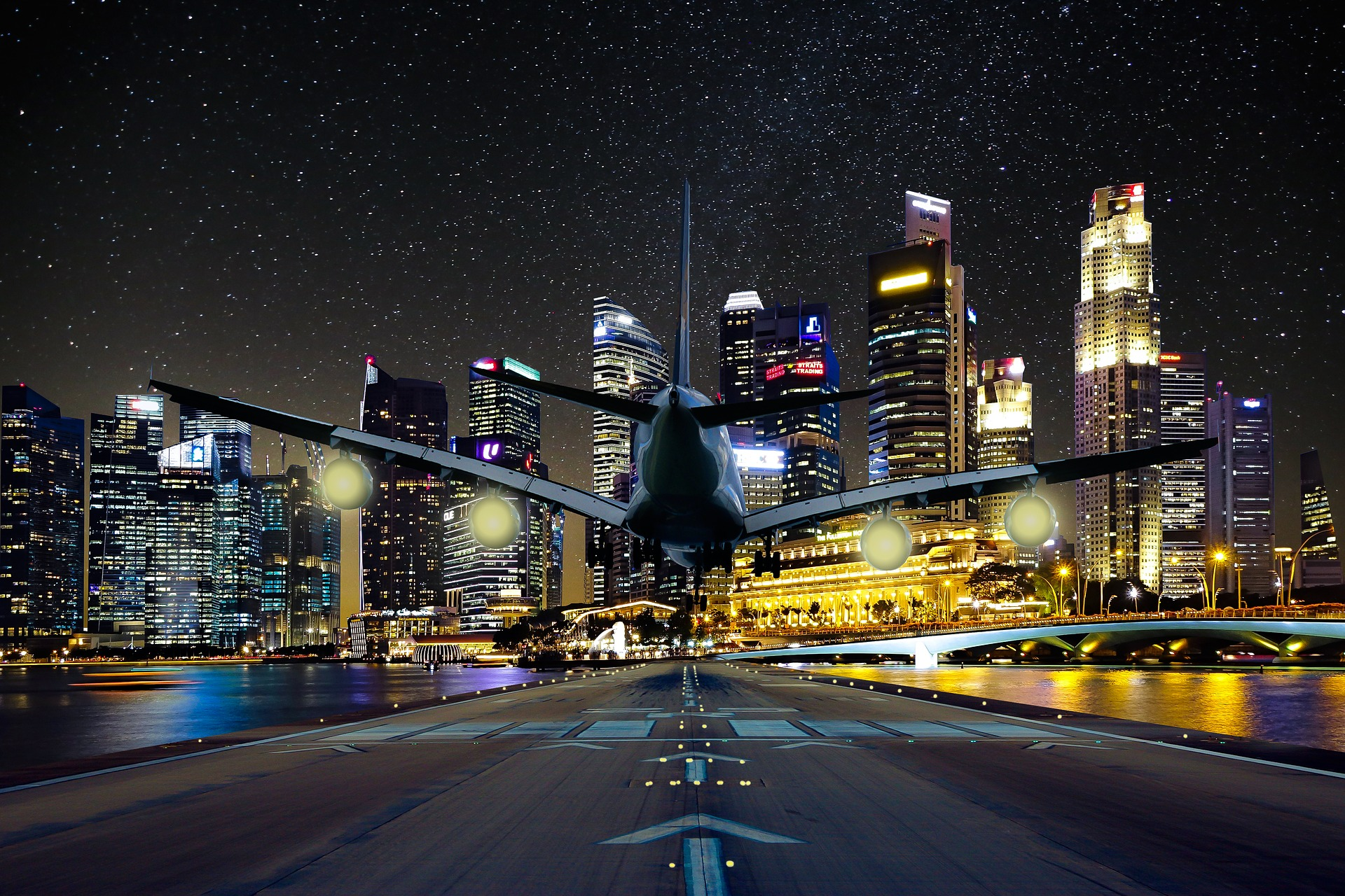Image of an airplane with a city backdrop