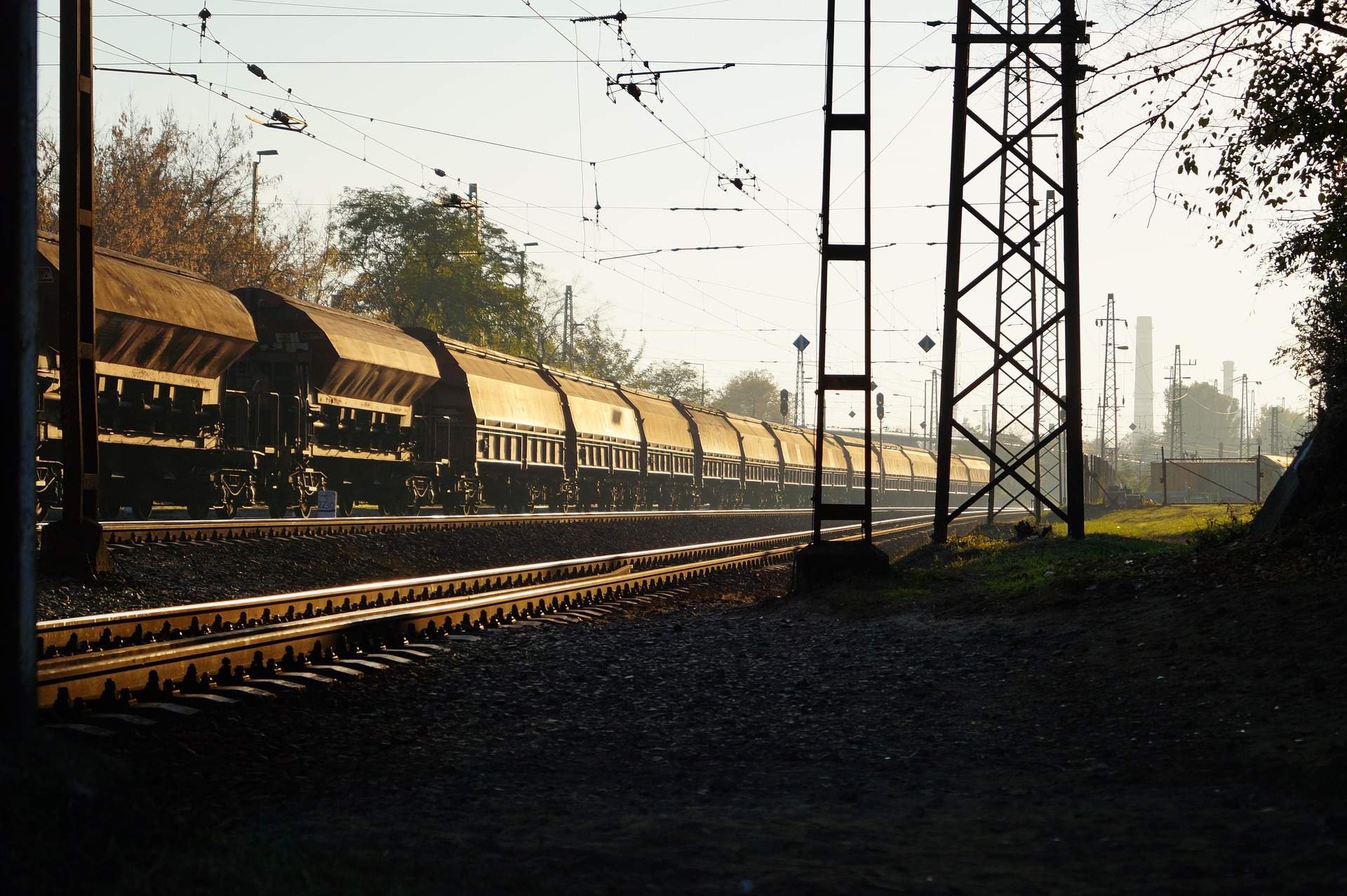 Image of a train transporting goods between Germany and China